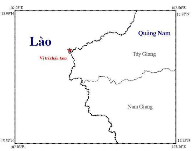 Sơ đồ vị trí xảy ra động đất trên biên giới Việt - Lào