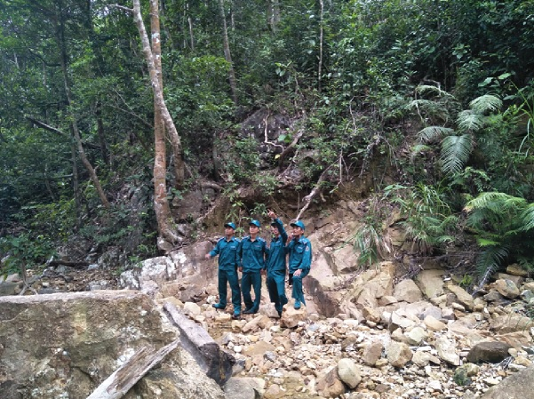 Các lực lượng chức năng tăng cường công tác tuần tra bảo vệ rừng.