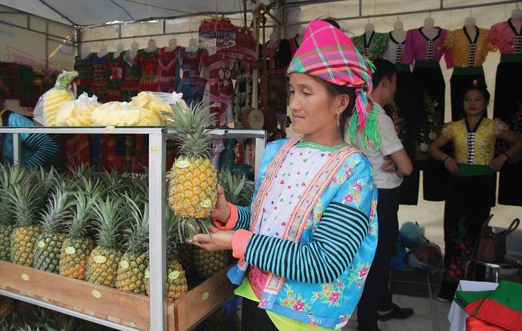 Đồng bào Mông ở xã Na Sang, huyện Mường Chà giới thiệu đặc sản dứa của địa phương tại Hội chợ, triển lãm.