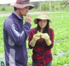 Anh Takaya Hanaoka ăn thử rau tại vườn.