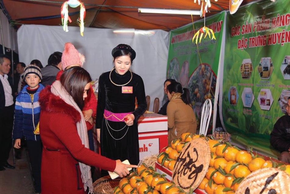 Cẩm Ly trong trang phục truyền thống của dân tộc Tày giới thiệu cam sạch ở hội chợ.