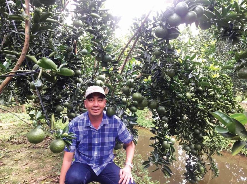 Anh Cao Phát Triển bên vườn cam trĩu quả sau khi được lắp đặt hệ thống phun, tưới tự động.