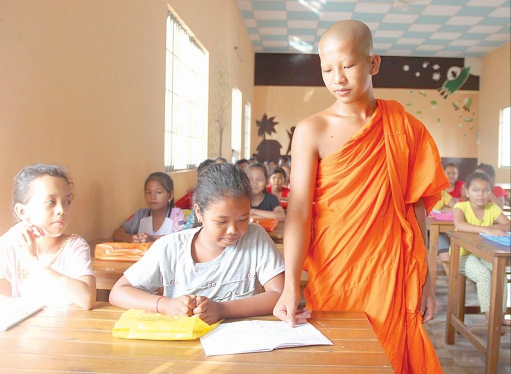 Lớp dạy chữ Khmer ở chùa Nodol ấp Giồng Lớn, xã Đại An, huyện Trà Cú, tỉnh Trà Vinh.
