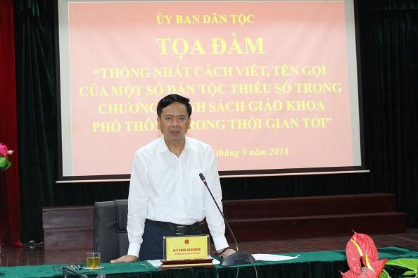 TS. Phan Văn Hùng, Thứ trưởng, Phó Chủ nhiệm, Chủ tịch Hội đồng Khoa học và Công nghệ UBDT phát biểu khai mạc Tọa đàm