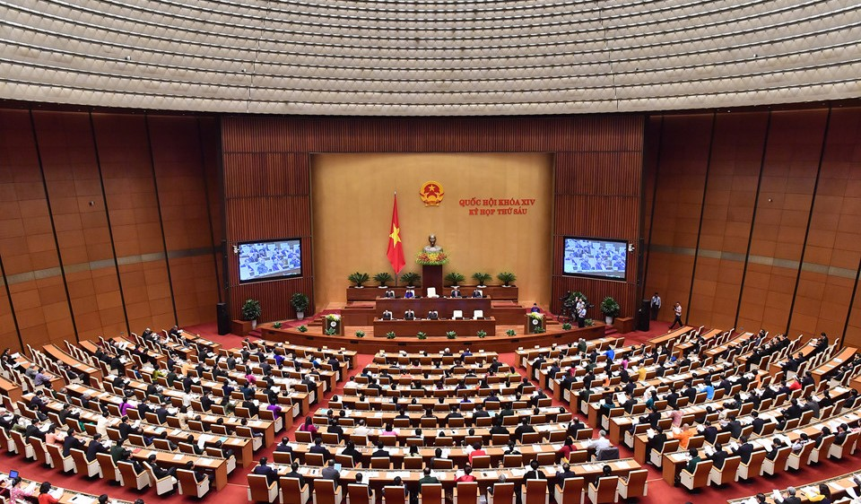 Các đại biểu làm việc tại Hội trường.