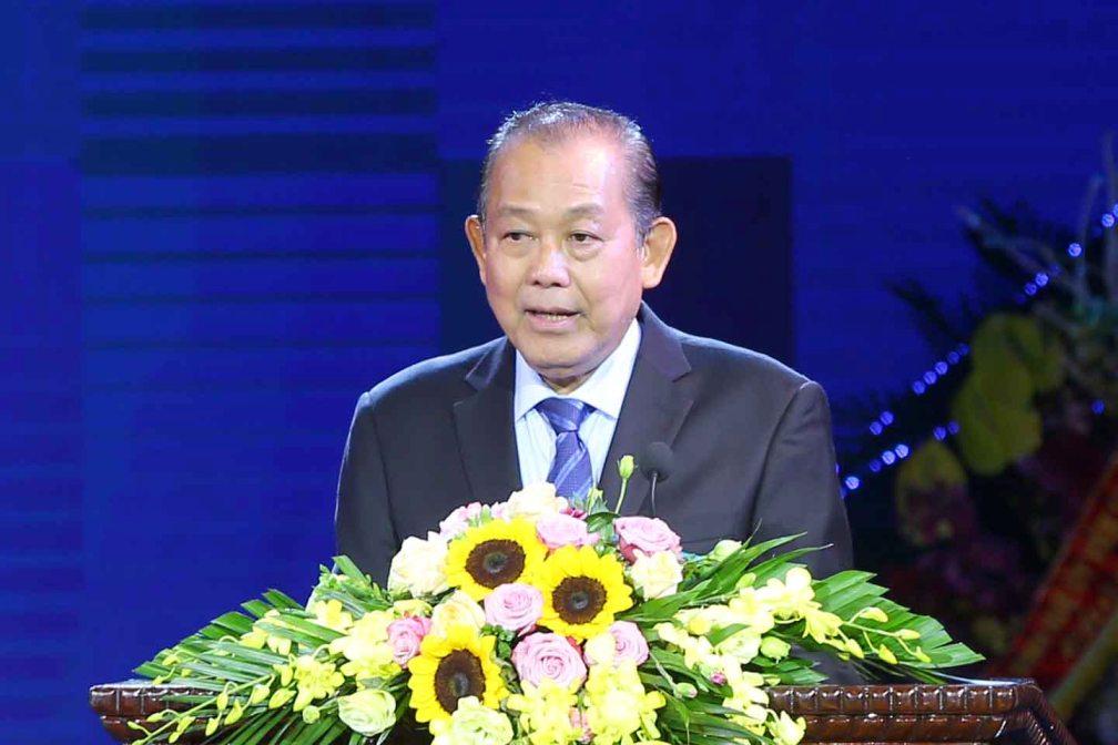 Phó Thủ tướng Thường trực Chính phủ Trương Hòa Bình phát biểu tại buổi lễ. Ảnh VGP/Lê Sơn