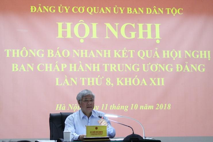 Bộ trưởng, Chủ nhiệm UBDT Đỗ Văn Chiến thông báo nhanh kết quả Hội nghị Ban Chấp hành Trung ương Đảng lần thứ 8, khóa XII