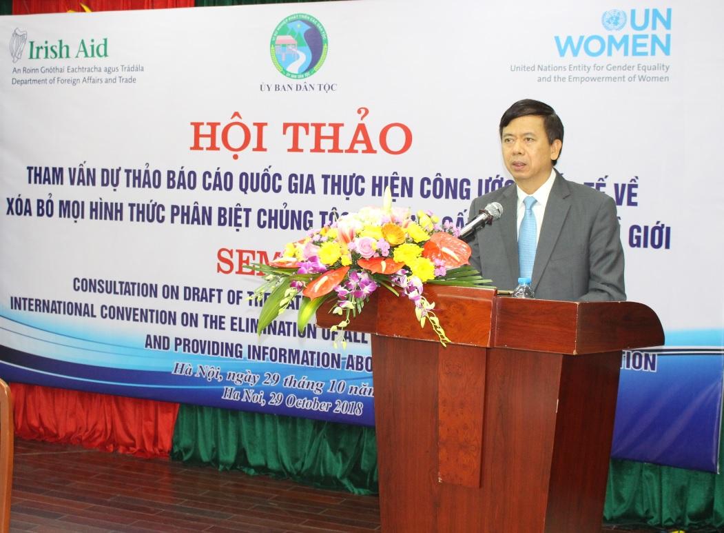 Thứ trưởng, Phó Chủ nhiệm UBDT Phan Văn Hùng phát biểu khai mạc Hội thảo.