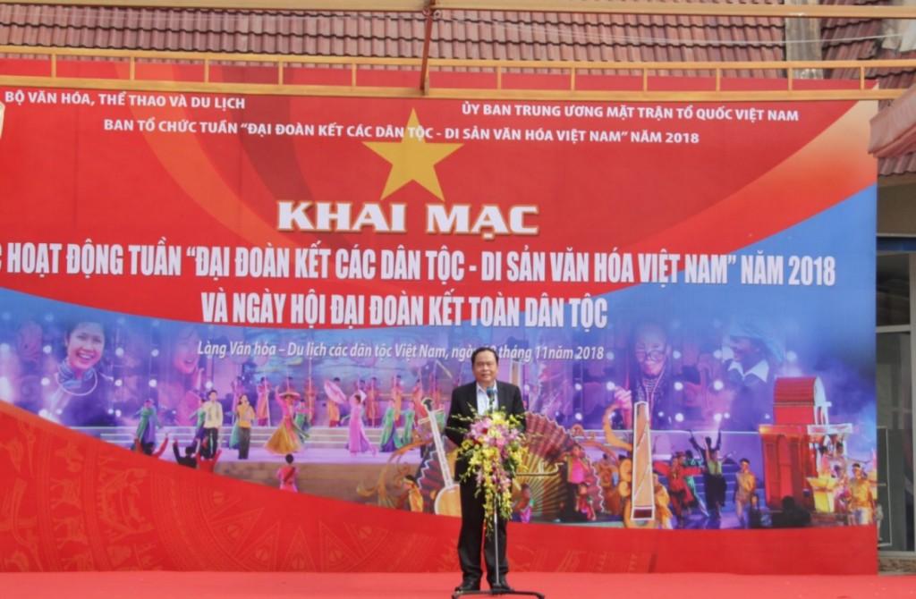 Chủ tịch Ủy ban Trung ương Mặt trận tổ quốc Việt Nam phát biểu tại buổi lễ