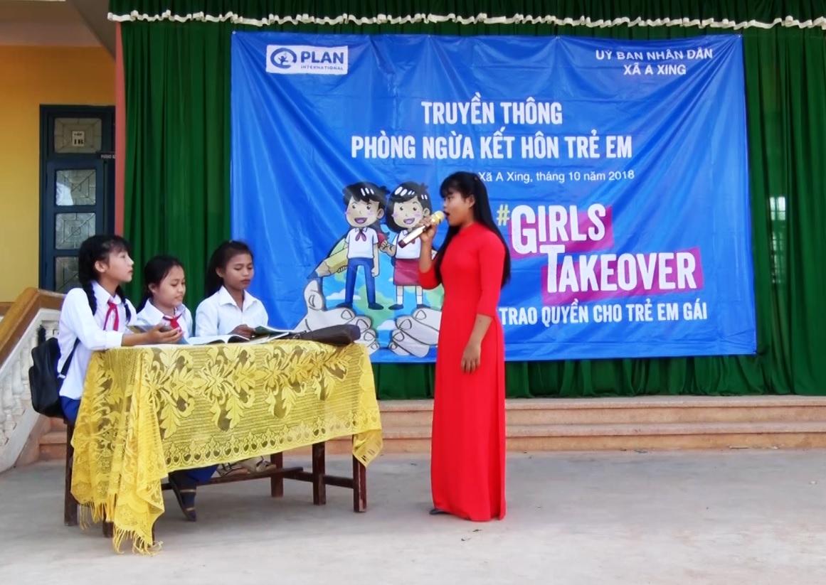 Truyền thông phòng chống kết hôn sớm tại Trường Tiểu học và THCS A Xing.