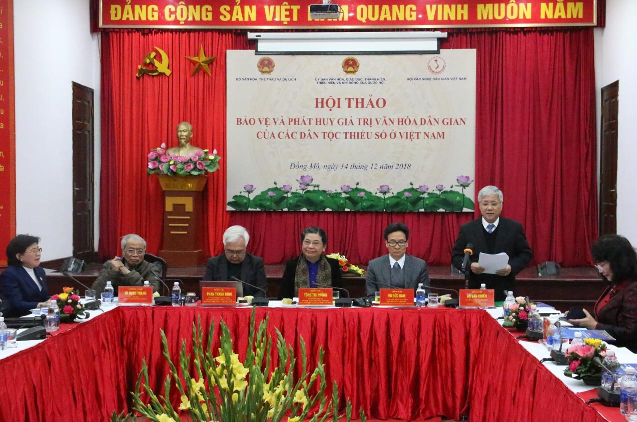 Bộ trưởng, Chủ nhiệm Ủy ban Dân tộc Đỗ Văn Chiến phát biểu tại Hội thảo.