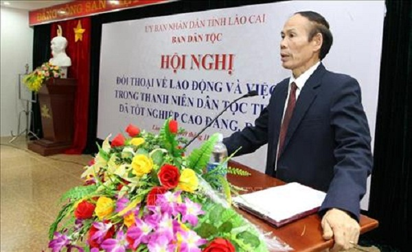Ông Nguyễn Hữu Thế, Phó Chủ tịch UBND tỉnh Lào Cai phát biểu tại hội nghị. Ảnh: Quốc Khánh - TTXVN