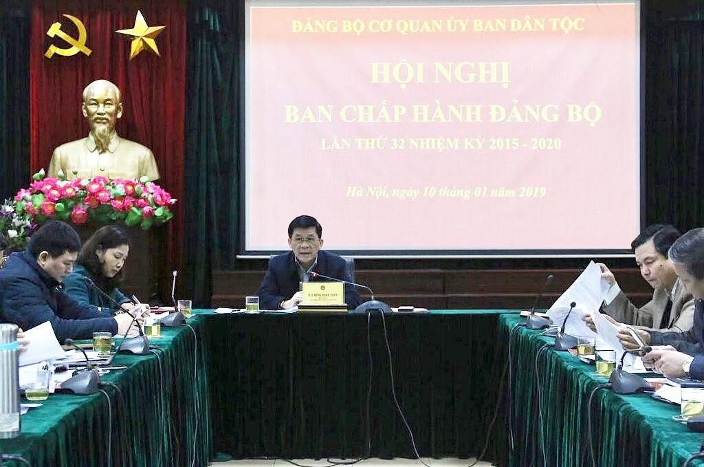 Bí thư Đảng ủy, Thứ trưởng, Phó Chủ nhiệm Ủy ban Dân tộc Nông Quốc Tuấn chủ trì Hội nghị