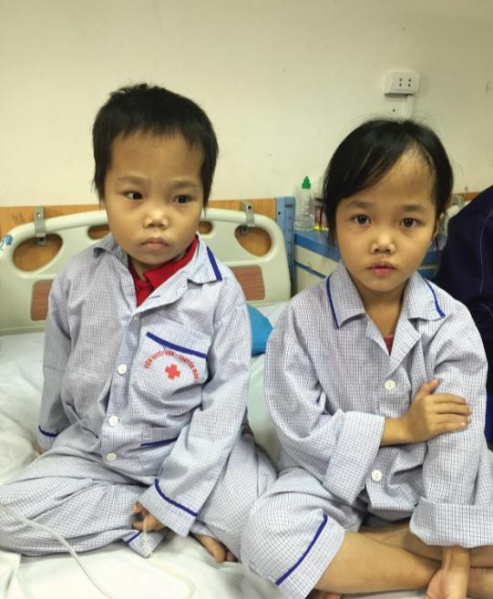 Hai chị em Thanh Hương và Minh Nguyễn, ở xã Tiến Thắng, huyện Yên Thế, tỉnh Bắc Giang mắc bệnh tan máu bẩm sinh đang được điều trị tại Viện Huyết học- Truyền máu Trung ương.