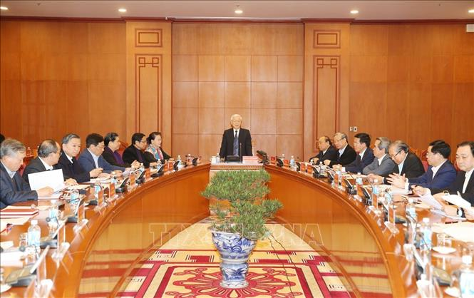 Tổng Bí thư, Chủ tịch nước Nguyễn Phú Trọng phát biểu chỉ đạo phiên họp. (Ảnh: Trí Dũng)