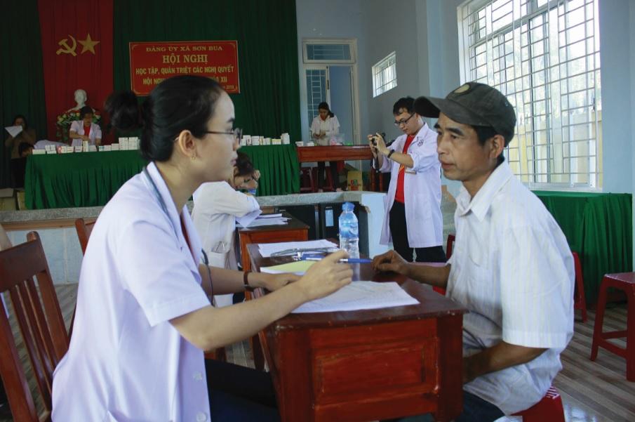 Các bác sĩ Câu lạc bộ Thầy thuốc trẻ khám chữa bệnh và cấp thuốc miễn phí cho bà con xa Sơn Bua, huyện Sơn Tây (Quảng Ngãi).