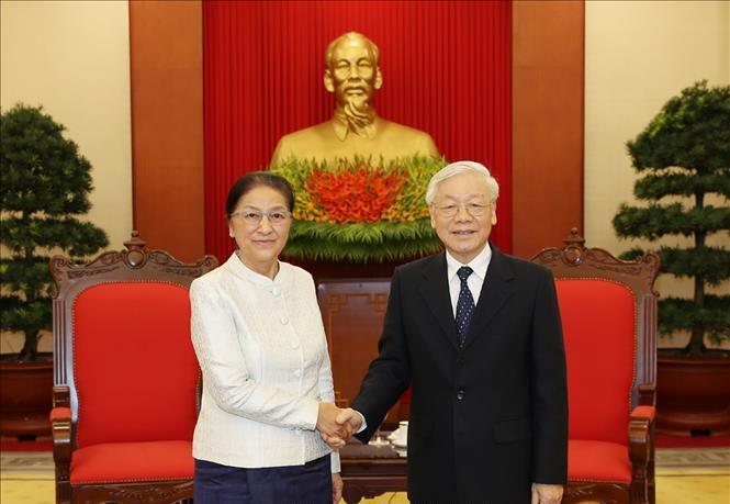 Tổng Bí thư, Chủ tịch nước Nguyễn Phú Trọng tiếp Đoàn đại biểu Quốc hội Lào.