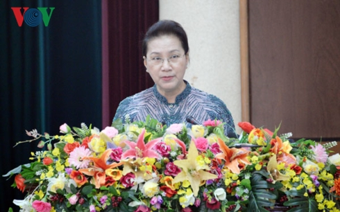 Chủ tịch Quốc hội Nguyễn Thị Kim Ngân phát biểu tại hội nghị. Ảnh: VOV