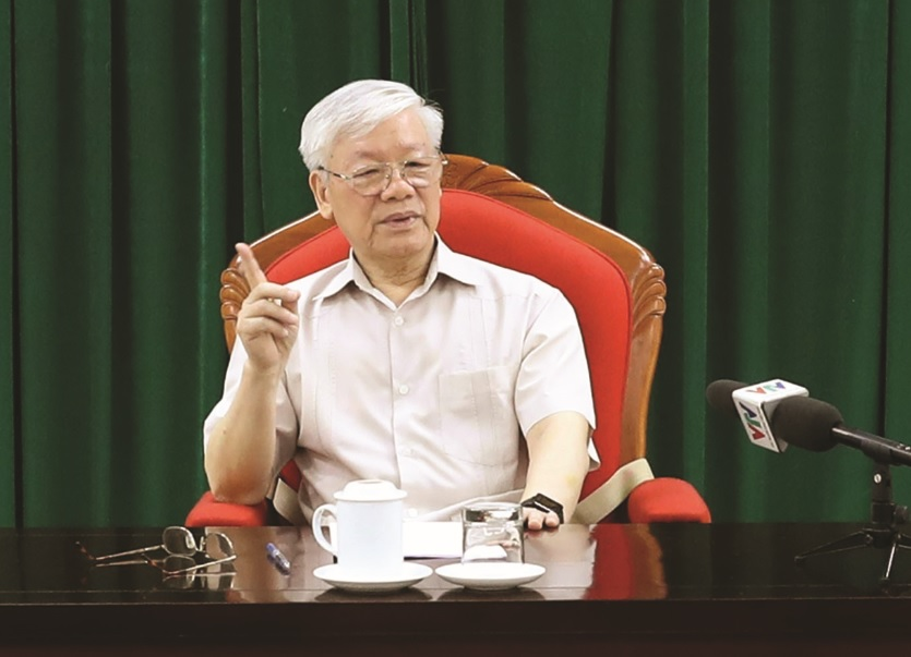 Tổng Bí thư, Chủ tịch nước Nguyễn Phú Trọng phát biểu kết luận buổi họp. Ảnh: Trí Dũng – TTXVN