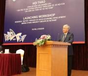 """Bộ trưởng, Chủ nhiệm Ủy ban Dân tộc Đỗ Văn Chiến phát biểu tại Hội thảo Công bố báo cáo nghiên cứu """"Các yếu tố ảnh hưởng đến kinh tế-xã hội các DTTS tại Việt Nam""""."""