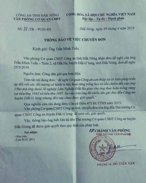 """""""Thông báo chuyển đơn"""" của Công an tỉnh Đăk Nông ngày 09/4/2019 trả lời đơn kêu cứu của ông Trần Minh Tuấn."""