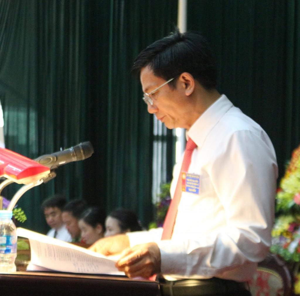 Ông Lương Văn Tưởng Trưởng Ban Dân tộc Thanh Hóa phát biểu tại Đại hội