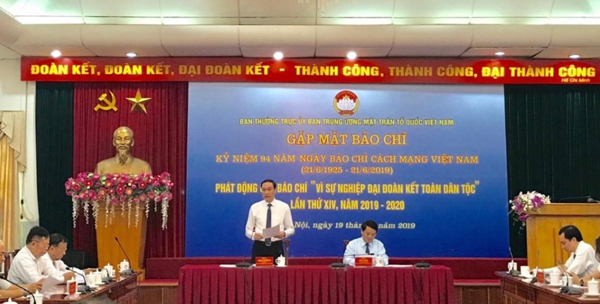 """ông Phùng Khánh Tài, Phó Chủ tịch Ủy ban Trung ương Mặt trận Tổ quốc Việt Nam, phát động Giải báo chí """"Vì sự nghiệp đại đoàn kết toàn dân tộc"""""""
