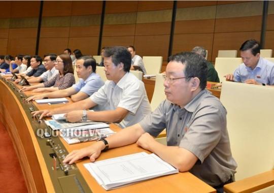 Các đại biểu biểu quyết thông qua Luật Đầu tư công (sửa đổi). Các đại biểu biểu quyết thông qua Luật Đầu tư công (sửa đổi).