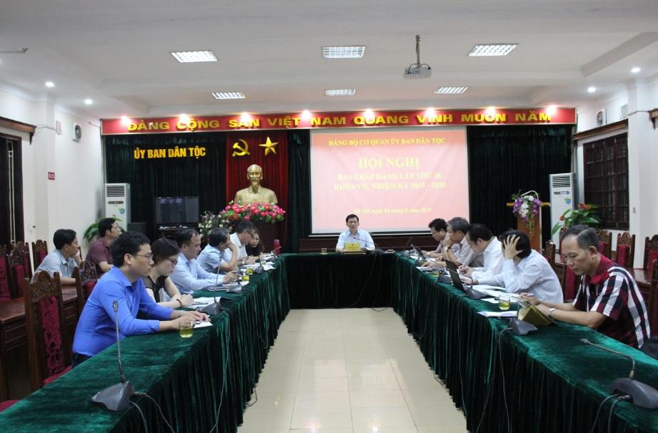 Bí thư Đảng ủy cơ quan Ủy ban Dân tộc Nông Quốc Tuấn phát biểu chỉ đạo Hội nghị.