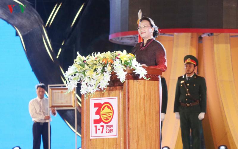 Chủ tịch Quốc hội Nguyễn Thị Kim Ngân phát biểu tại buổi Lễ kỷ niệm 30 năm tái lập tỉnh Phú Yên