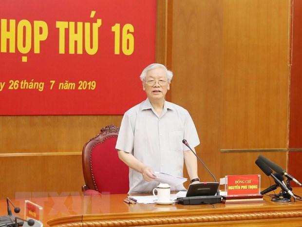 Tổng Bí thư, Chủ tịch nước Nguyễn Phú Trọng, Trưởng Ban Chỉ đạo Trung ương về phòng, chống tham nhũng phát biểu ý kiến chỉ đạo phiên họp. Ảnh: TTXVN