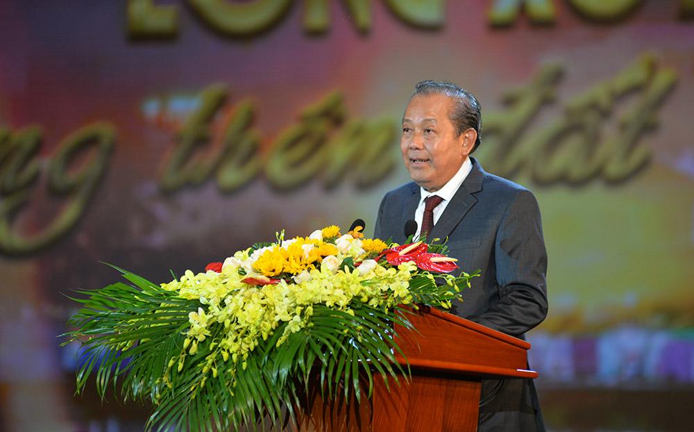 Phó Thủ tường Thường trực Chính phủ Trương Hòa Bình phát biểu tại buổi lễ.