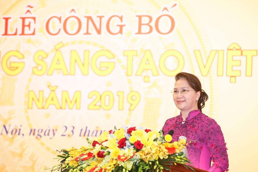 Chủ tịch Quốc hội Nguyễn Thị Kim Ngân phát biểu tại Lễ công bố.