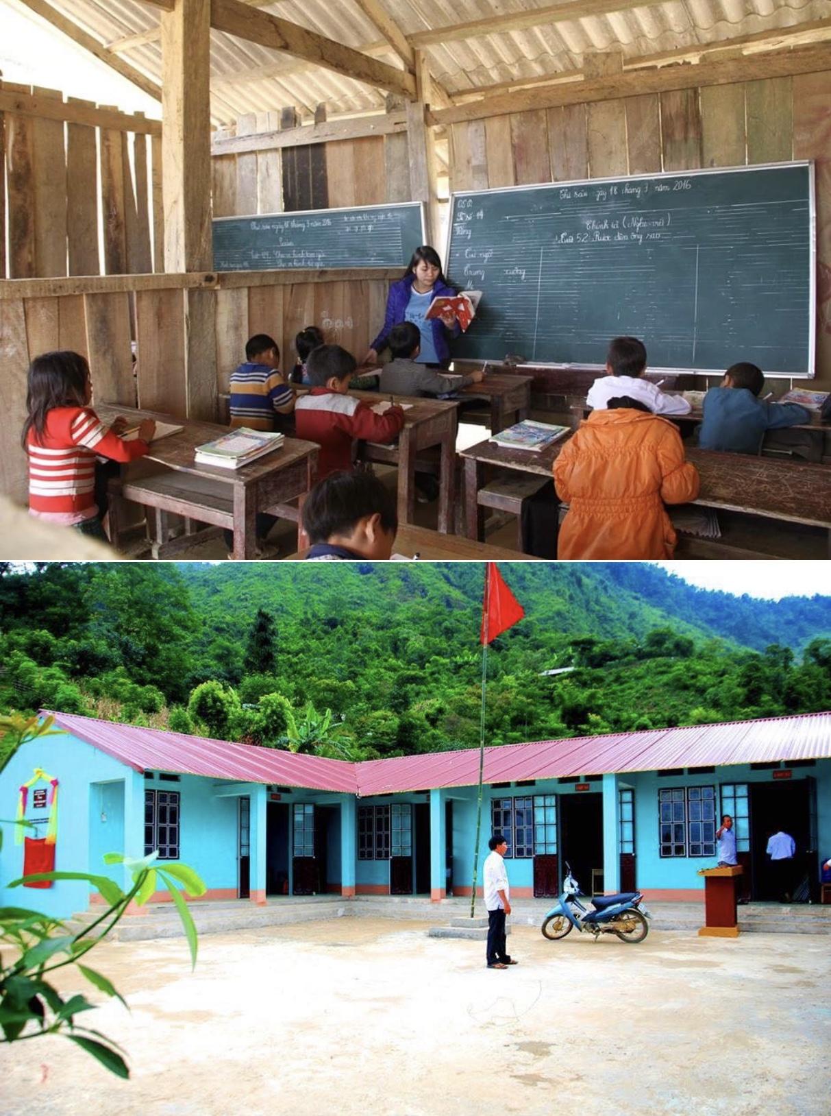 Điểm trường Phân hiệu Lán Bò thuộc Trường Tiểu học Nậm Chày, huyện Văn Bàn, tỉnh Lào Cai trước và sau khi được hỗ trợ xây dựng mới.