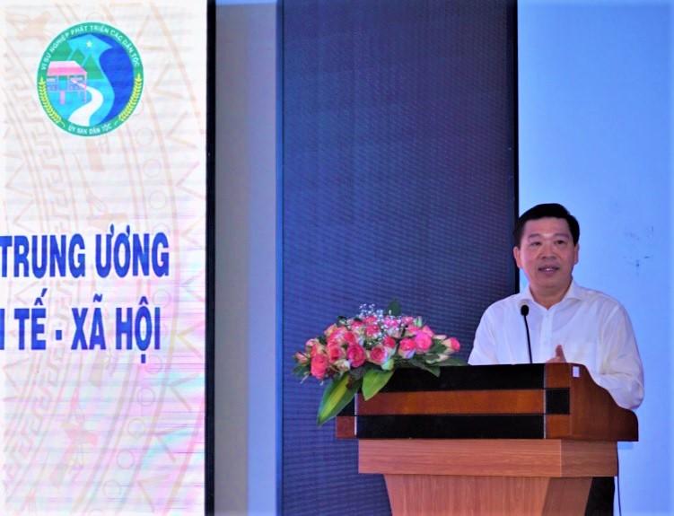 Ông Lê Sơn Hải, Thứ trưởng, Phó Chủ nhiệm Uỷ ban Dân tộc phát biểu khai mạc Hội nghị.