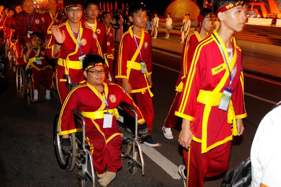 Một số vận động viên khuyết tật tham gia Liên hoan