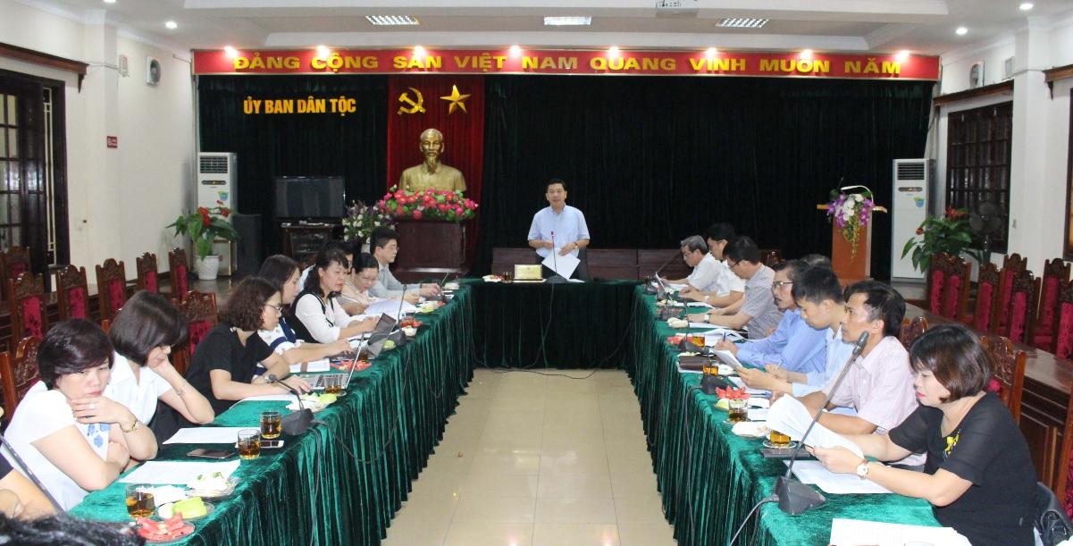 Thứ trưởng, Phó Chủ nhiệm UBDT Lê Sơn Hải phát biểu chỉ đạo tại buổi họp.