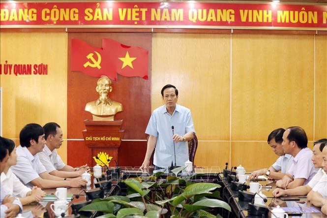 Bộ trưởng Bộ Lao động - Thương binh và Xã hội Đào Ngọc Dung phát biểu tại buổi làm việc. (Ảnh: Anh Tuấn - TTXVN)