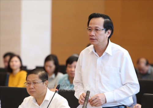 Bộ trưởng Bộ Lao động, Thương binh và Xã hội Đào Ngọc Dung báo cáo về việc thực hiện chính sách, pháp luật về trợ giúp xã hội đối với người cao tuổi và người khuyết tật. Ảnh: Dương Giang/TTXVN