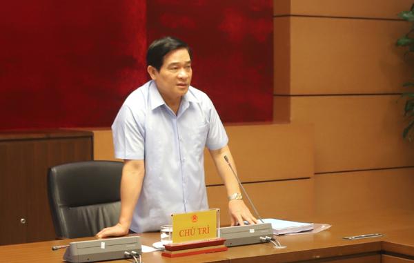 Chủ tịch Hội đồng Dân tộc của Quốc hội Hà Ngọc Chiến phát biểu chỉ đạo tại cuộc họp