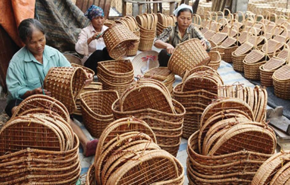 Sản phẩm mây tre đan của làng nghề Tăng Tiến, thôn Chùa, xã Tăng Tiến, huyện Việt Yên.