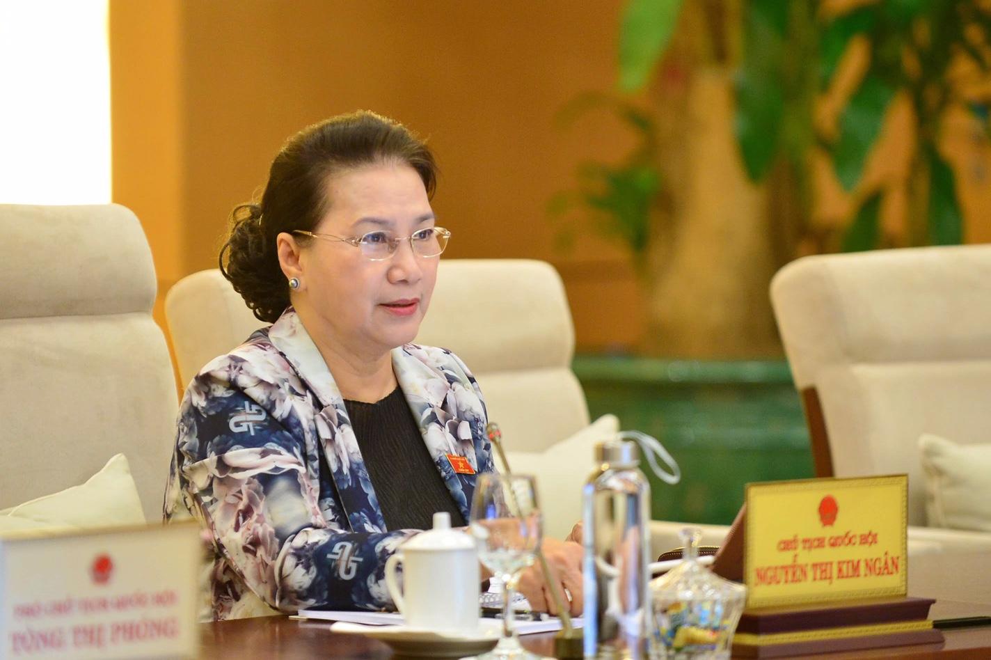 Chủ tịch Quốc hội Nguyễn Thị Kim Ngân phát biểu tại Phiên giám sát. Ảnh: VGP/ Nhật Bắc