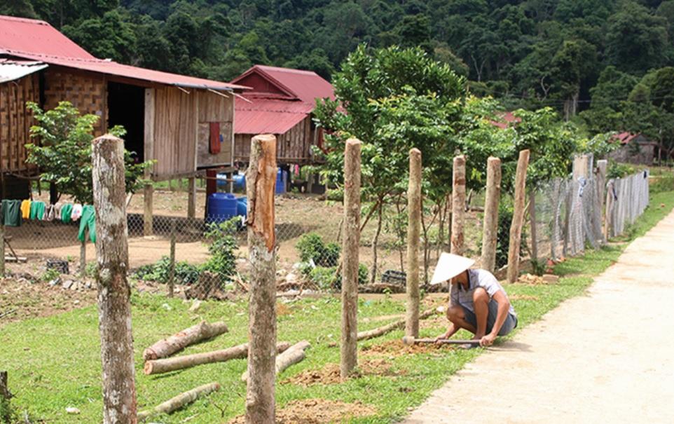 Người Arem rào vườn để trồng cây phát triển sản xuất